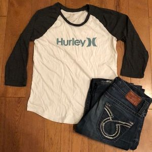 Hurley medium grey and white top